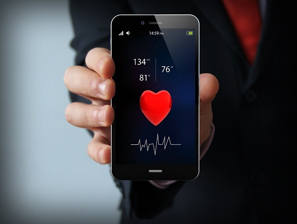 health concept: health app on touchscreen smartphone